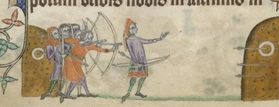 Archers at Practice: The Luttrell Psalter